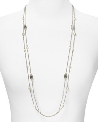 """Lauren Ralph Lauren Two Row Pearl and Crystal Illusion Necklace, 36"""""""