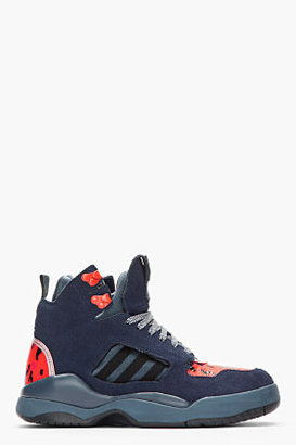 adidas BY O.C. Navy Suede Printed Hybrid EQT Trail Sneakers