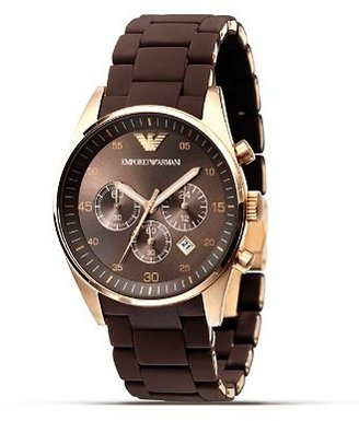 Emporio Armani Brown Rubber and Rose Gold Watch, 43 mm