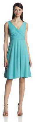 Isaac Mizrahi Women's Sleeveless V-Neck Full-Skirt Dress