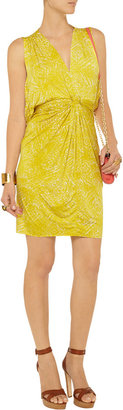 T-Bags Cape-back printed stretch-satin jersey mini dress