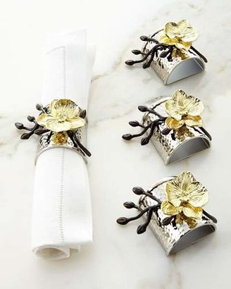 Michael Aram Four Gold Orchid Napkin Rings