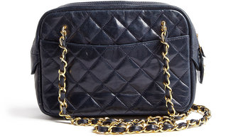 Vintage Heirloom Navy Small Quilted Double Chain Chanel Shoulder Bag