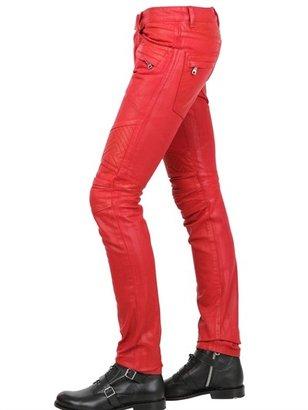 Balmain 18cm Geometric Waxed Denim Biker Jeans