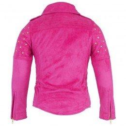 Supertrash Pink Faux Suede Biker Jacket