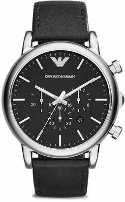 Emporio Armani Quartz Chronograph Black Leather Watch, 46mm