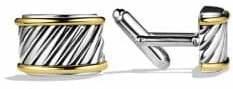 David Yurman Men's Cable Cigar Band Cuff Links - Silver Gold