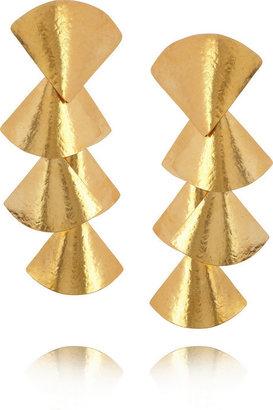 Herve Van Der Straeten Hammered gold-plated clip earrings