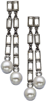 Ben-Amun Ben Amun Silver Crystal And Pearl Earrings