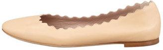 Chloé Scalloped Leather Ballerina Flat, Beige