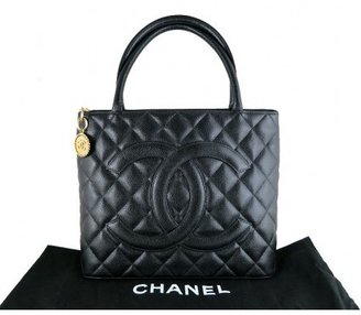 Chanel excellent (EX Caviar Black Medallion Gold Hardware Tote Shoulder Bag