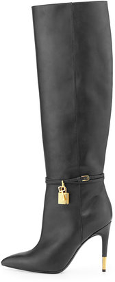 Tom Ford Padlock Ankle-Wrap Leather Knee Boot, Black