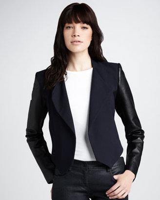 Theory Leather-Sleeve Blazer