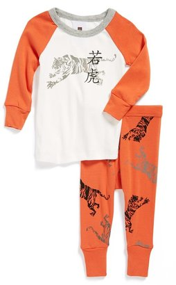 Tea Collection 'Woodcut Tiger' Two-Piece Fitted Pajamas (Baby Boys)