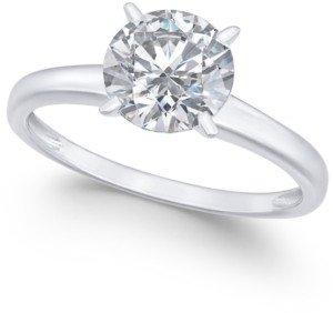 Arabella Swarovski Zirconia (3-1/3 ct. t.w.) Solitaire Engagement Ring in 14k White Gold