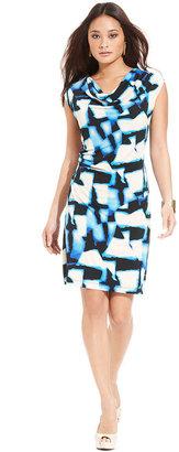 Style&Co. Dress, Sleeveless Cowl-Neck Printed Shift