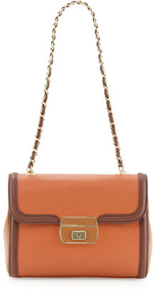 Moschino Colorblock Lizard-Print Shoulder Bag, Ruggin/Marron/Cuoio