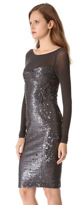 Donna Karan Sequin Dress with Illusion Sleeves