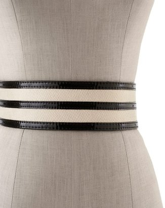 White House Black Market Snake-Embossed/Patent Trim Stretch Belt