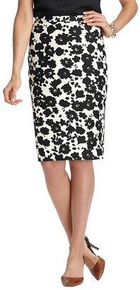 LOFT Blossom Print Stretch Cotton Pencil Skirt