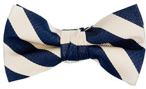 J.Crew Boys' silk bow tie in navy and cream stripe