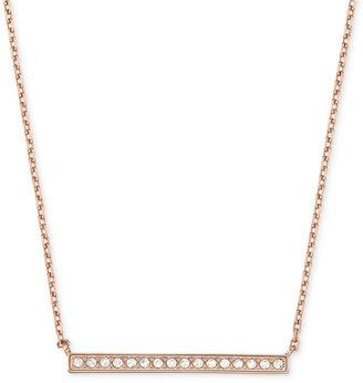 Swarovski Necklace, Rose Gold-Tone Pave Crystal Bar Pendant Necklace