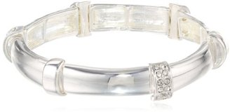 "Kenneth Cole New York ""Bracelet Item"" Silver Pave Segmented Stretch Bracelet, 7.5"""