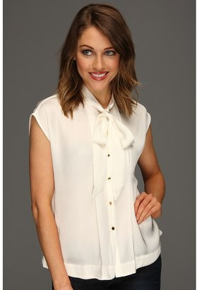 Vince Camuto Tie Neck Button Down Blouse (New Ivory) - Apparel