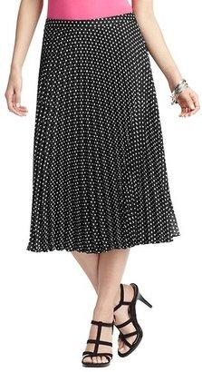 LOFT Petite Polka Dot Pleated Mid Length Skirt