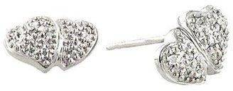 10K White Gold Double-Heart Stud Earrings with Diamonds