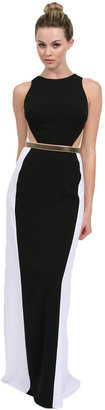 Nicole Bakti Long Dress in Black/White