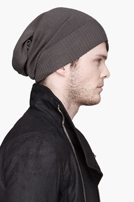 Rick Owens Grey Basic knit cotton beanie
