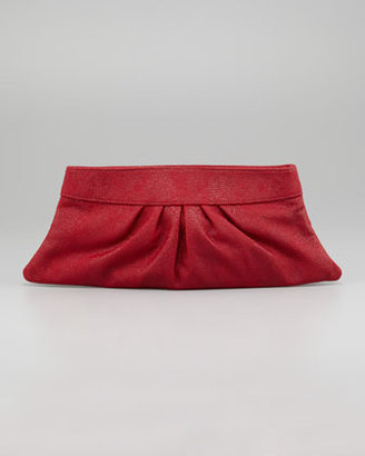 Lauren Merkin Louise Lizard-Embossed Clutch Bag, Crimson