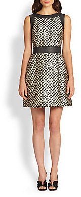 RED Valentino Floral Brocade Fit-and-Flare Dress