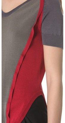 Carven Short Sleeve Color Block Sweater