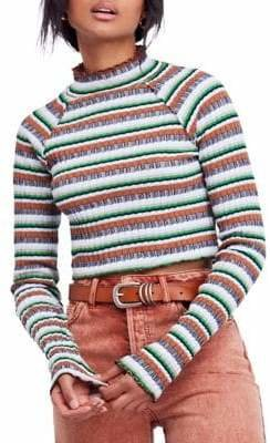 Free People Striped Mock Neck Crop Sweater