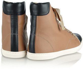 Lanvin Two-tone leather high-top sneakers