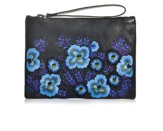 Christopher Kane Floral embroidered leather clutch