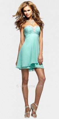 Faviana Strapless Beaded Ruched Bust Mini Cocktail Dresses