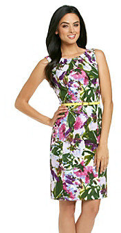 Amy Byer Floral Print Belted Sheath Dress