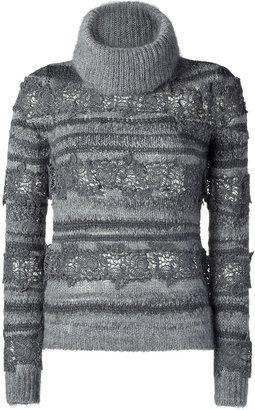 Vanessa Bruno Grey Wool and Crochet Lace Turtleneck Sweater