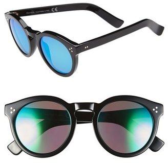 Illesteva 'Leonard II' 50mm Round Mirrored Sunglasses $290 thestylecure.com