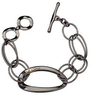 Ippolita Notte 18k-Logo Black Sterling Silver Bracelet