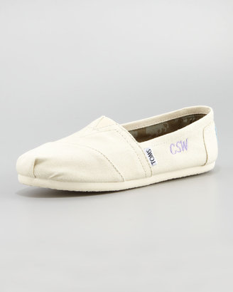 Toms Monogrammed Classic Canvas Slip On, Natural