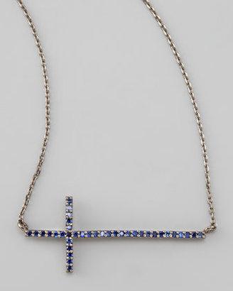 Tai Gunmetal Pave Cross Necklace, Blue