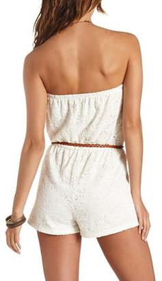 Charlotte Russe Crocheted Lace Belted Strapless Romper