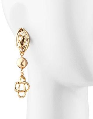 Oscar de la Renta Golden Mosaic Chandelier Clip-On Earrings