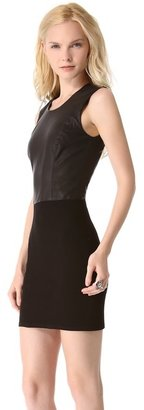 Helmut Lang Helmut Gala Knit & Leather Dress