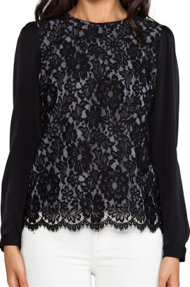 Milly Floral Scalloped Lace Blousant Sleeve Top