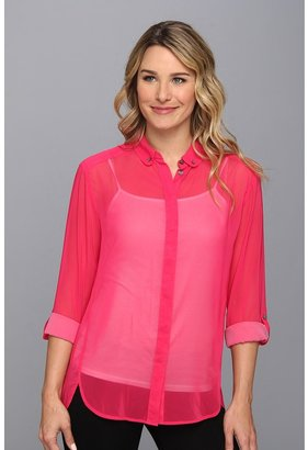 Vince Camuto TWO by L/S Two Tone Roll Tab Shirt